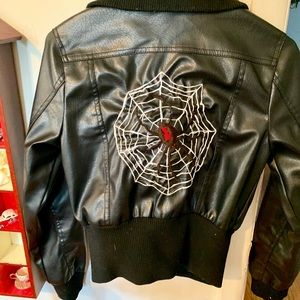🍓Hand embroidered Faux Leather Jacket OOAK